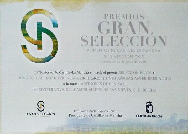 Premio Gran Selección Alimentos de Castilla la Mancha 2018 *Tinto*